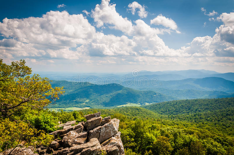 View of the Blue Ridge Mountains from North Marshall Mountain in royalty free stock photo