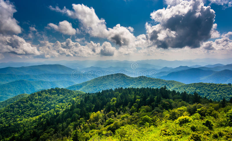 View of the Blue Ridge Mountains seen from Cowee Mountains Overlook on the Blue Ridge Parkway in North Carolina. royalty free stock images