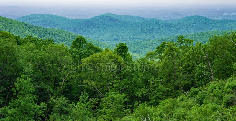 View of the Blue Ridge Mountains and the Shenandoah Valley stock photography