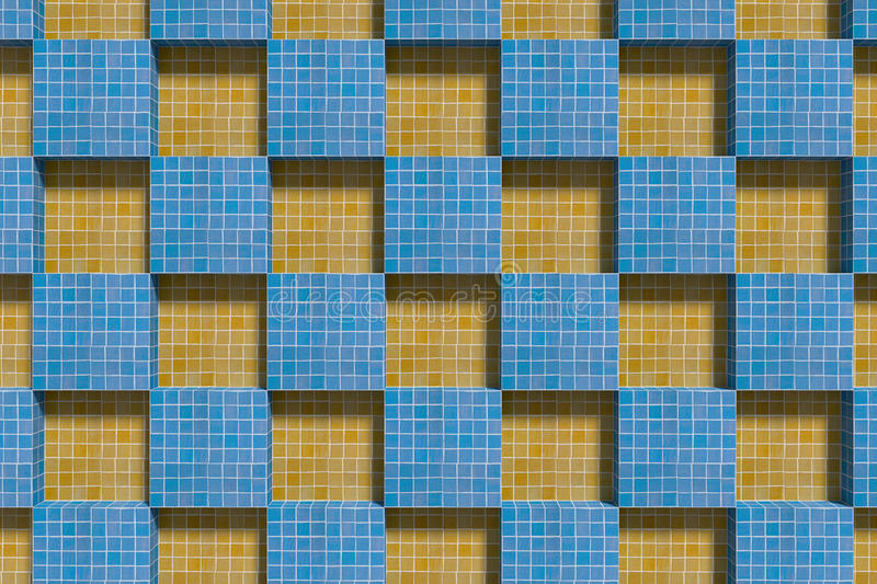 View on blue and yellow ceramic cubes. 3d rendering of blue and yellow ceramic cubes from above stock illustration