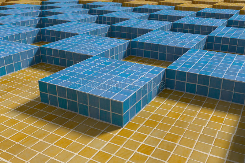 View on blue and yellow ceramic cubes. 3d rendering of blue and yellow ceramic cubes from above vector illustration