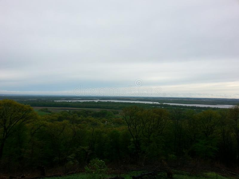 The mighty Mississippi River. A view from the bluffs in southern Illinois royalty free stock photo