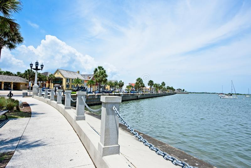 A view of the boardwalk at the Bridge of Lions on the Mantazas River in Historic St. Augustine, Floria USA royalty free stock photo