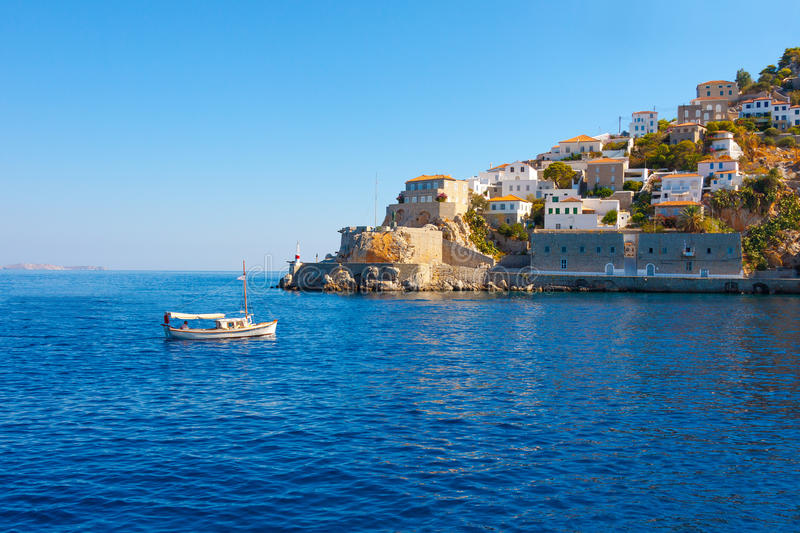 View Of Boat Entering Hydras Island In Greece Royalty Free Stock Photo