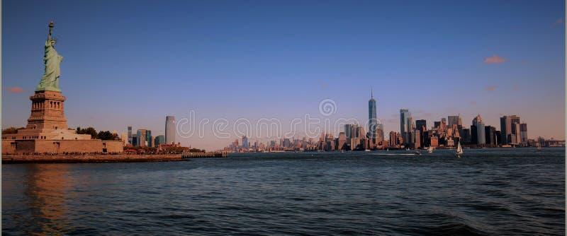 Panorama Skyline Liberty Statue New York City, Manhattan stock photo