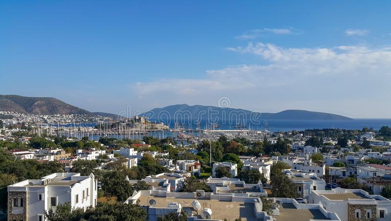 View of Bodrum castle and Marina Harbor in Aegean sea in Turkey. Take Photo samsung note 4 royalty free stock images