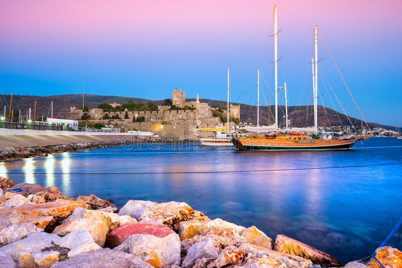 Bodrum Castle and Marina, Turkey. View of Bodrum Castle and Marina at Sunset, Turkey royalty free stock photography
