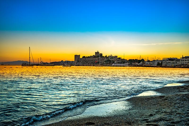 Bodrum Castle, Turkey. View of Bodrum Castle at sunset, Turkey stock image