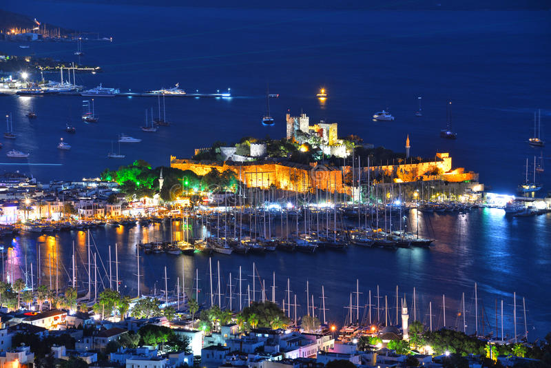 View of Bodrum harbor and Castle of St. Peter by night. Turkish Riviera stock photos