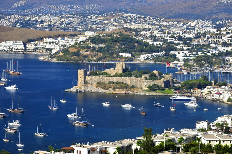 View of Bodrum harbor and Castle of St. Peter. Turkish Riviera royalty free stock image