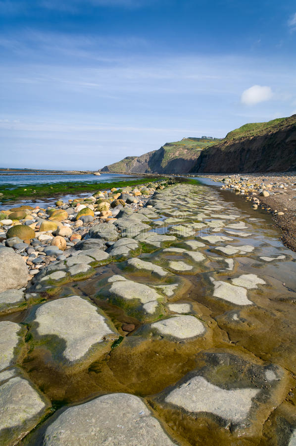 A view from Boggle Hole. Boggle hole near Robin Hoods Bay, North Yorkshire, UK royalty free stock images
