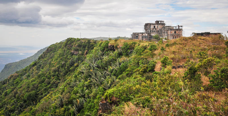 View of the Bokor Casino in Kampot, Cambodia.  stock photos