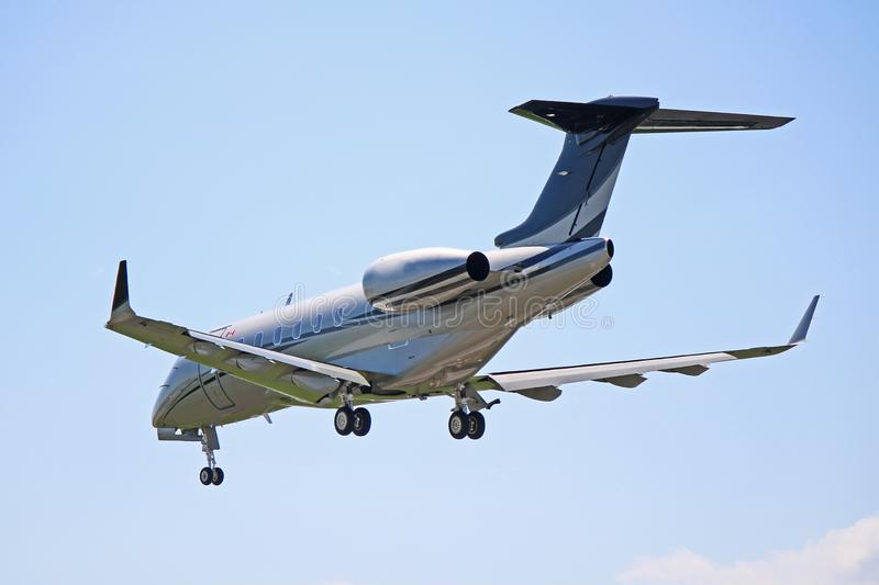 Bombardier Challenger 300 Rear View. View of a Bombardier Challenger 300 business jet. A popular corporate jet, the Challenger 300 can seat up to nine passengers royalty free stock images