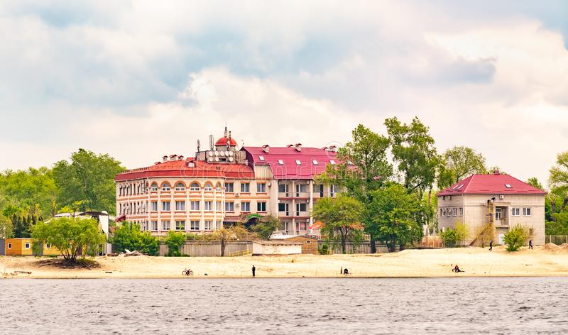 View of the Borisfen Hotel close to the Dnieper River in Kiev royalty free stock photo