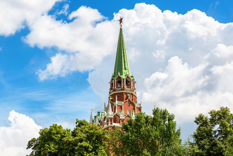 View of the Borovitskaya tower of the Moscow Kremlin royalty free stock photography