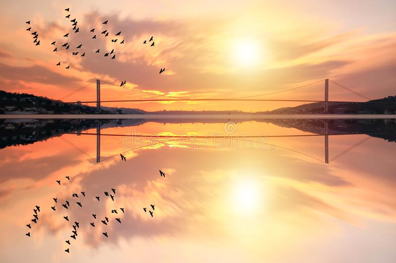 View of the Bosphorus bridge in Istanbul Turkey. royalty free stock photo