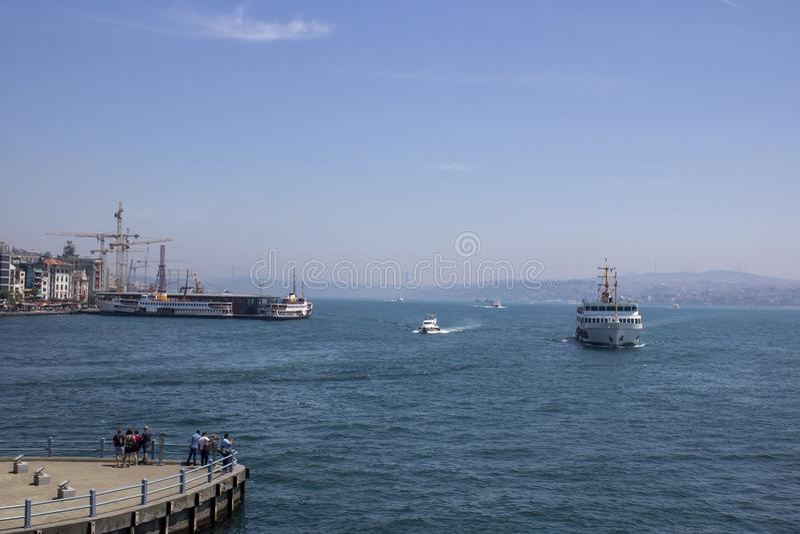 View of Bosphorus from Galata Bridge in Istanbul. Istanbul turkey sea ship water bosporus turkish city tourism ferry palace cruise boat travel passenger royalty free stock image