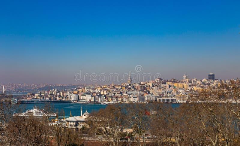 View of the Bosphorus Strait, Galata Bridge and Galata Tower in Istanbul, Turkey royalty free stock photos