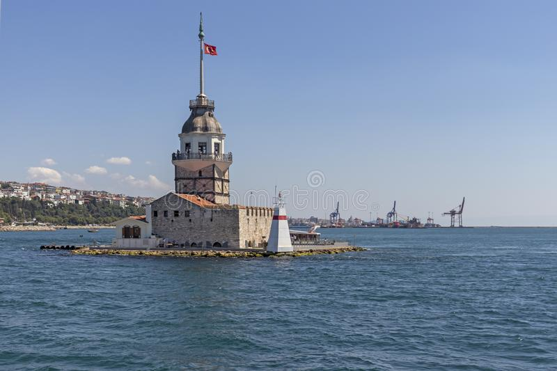 View from Bosporus to city of Istanbul and Maiden`s Tower. ISTANBUL, TURKEY - JULY 26, 2019: Amazing view from Bosporus to city of Istanbul and Maiden`s Tower royalty free stock photography