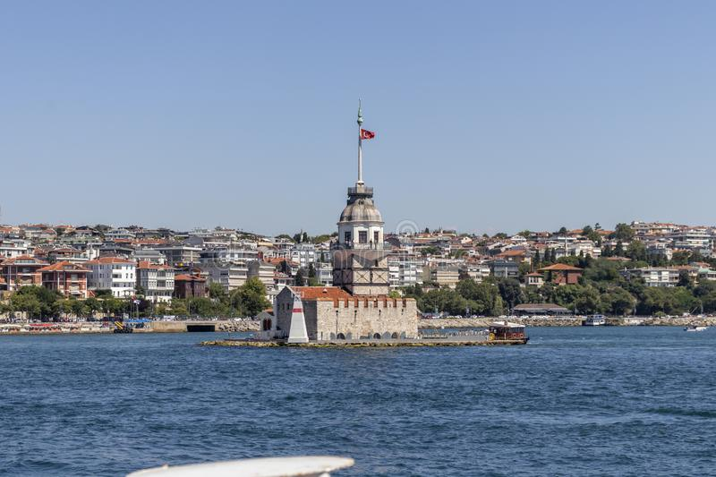 View from Bosporus to city of Istanbul and Maiden`s Tower. ISTANBUL, TURKEY - JULY 26, 2019: Amazing view from Bosporus to city of Istanbul and Maiden`s Tower stock images