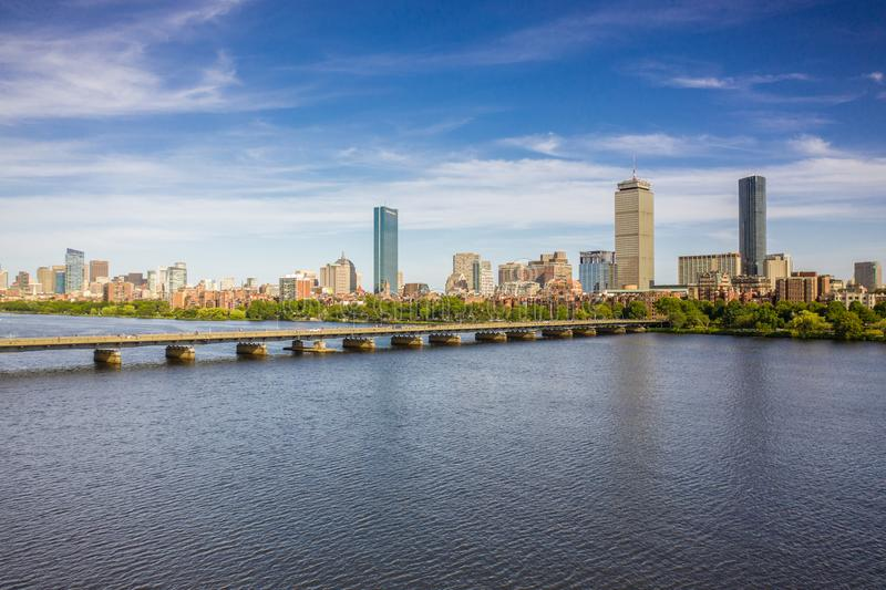 View of Boston Skyline in summer afternoon stock photography