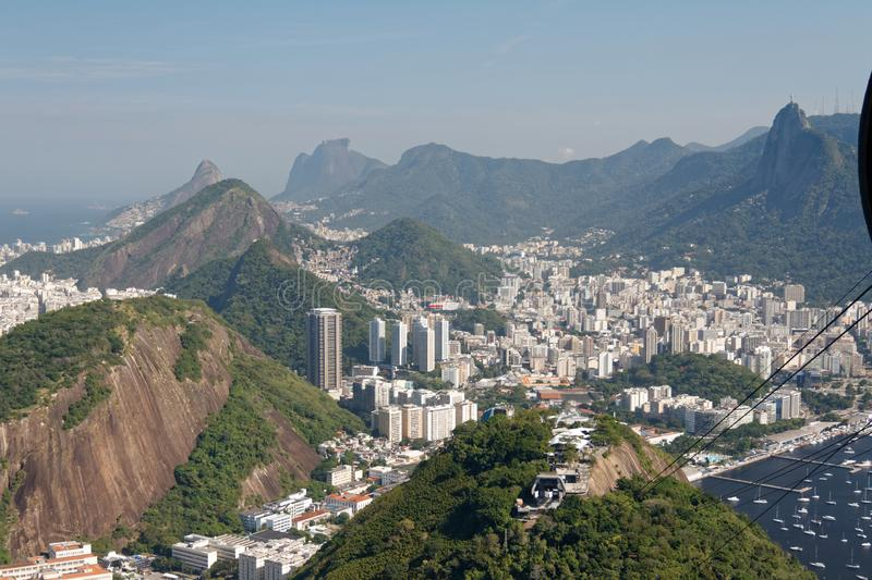 View of Botafogo and Corcovado from Sugarloaf cable car stock image