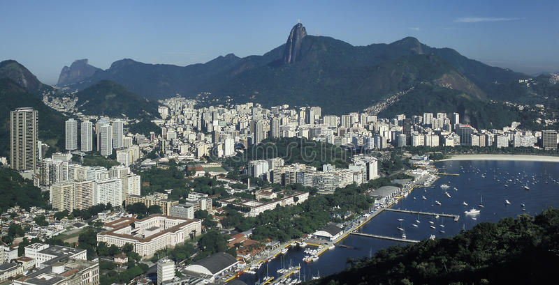 View of Botafogo district and Corcovado hill, Rio de Janeiro, Br. View of the Botafogo district and bay as seen from the top of the Pao de Açucar (Sugar Loaf stock photography