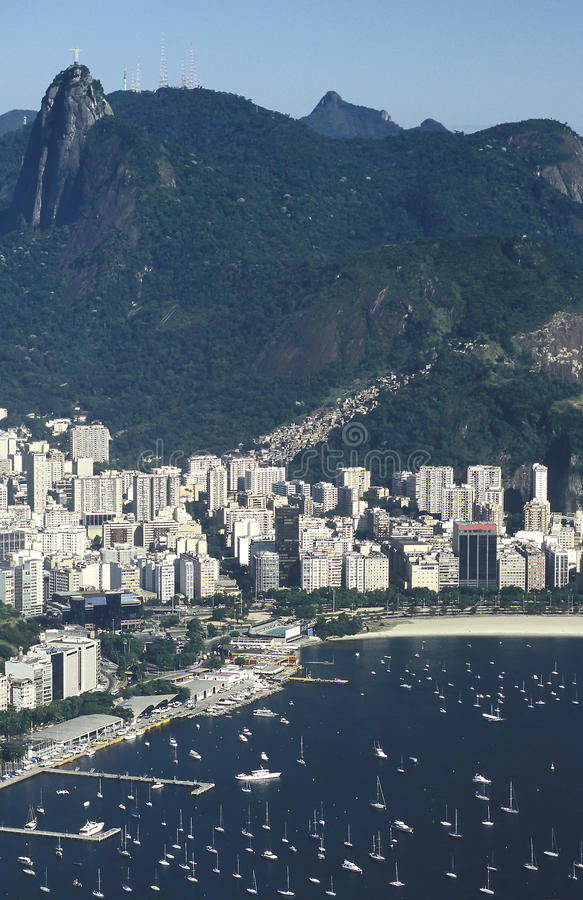 View of Botafogo district and Corcovado hill, Rio de Janeiro, Br. View of the Botafogo district and bay as seen from the top of the Pao de Açucar (Sugar Loaf stock photo