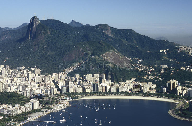 View of Botafogo district and Corcovado hill, Rio de Janeiro, Br. View of the Botafogo district and bay as seen from the top of the Pao de Açucar (Sugar Loaf royalty free stock photo
