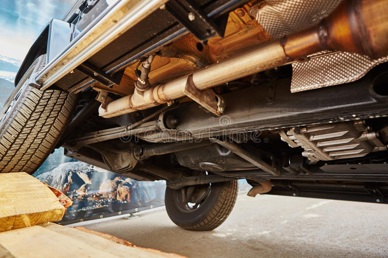 View from the bottom of a car. View from the bottom of a modern car stock image