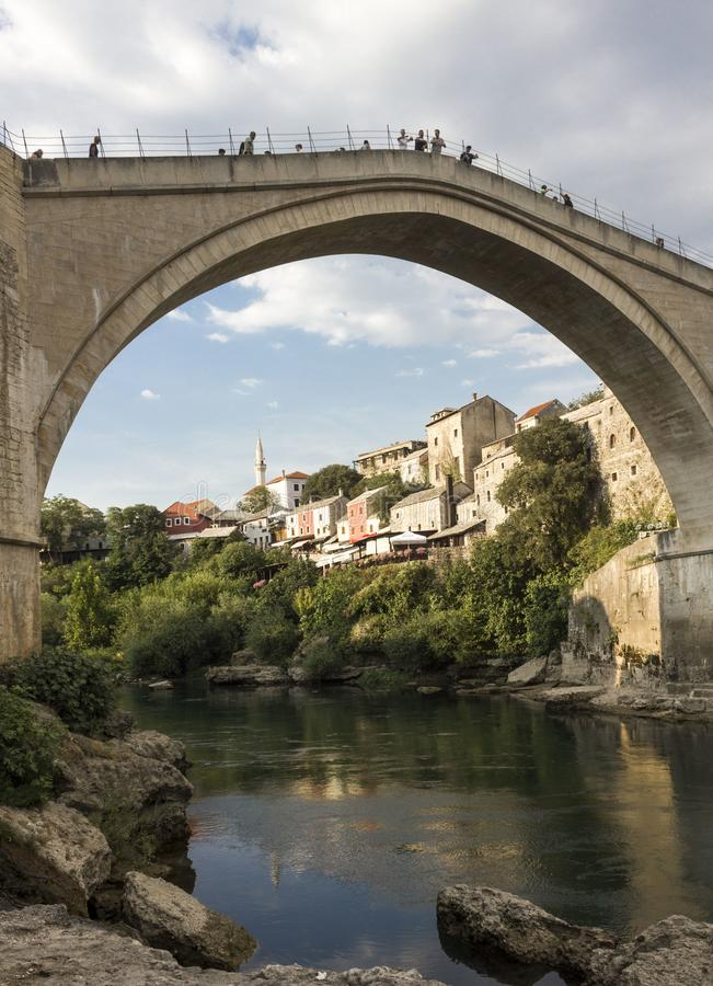 View from the bottom of the famous mostar bridge and Neretva river royalty free stock photos