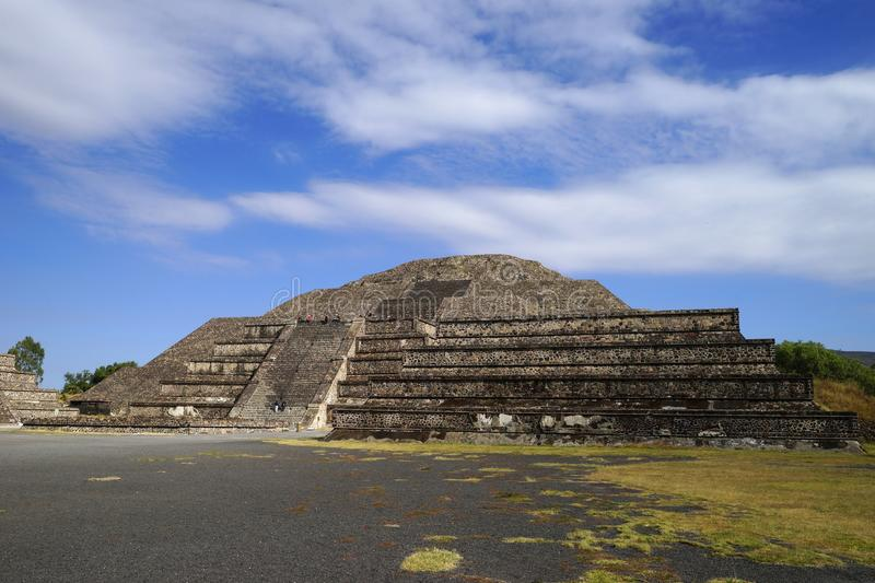 View from the bottom of the pyramid of the Moon, Teotihuacan, Mexico royalty free stock photo