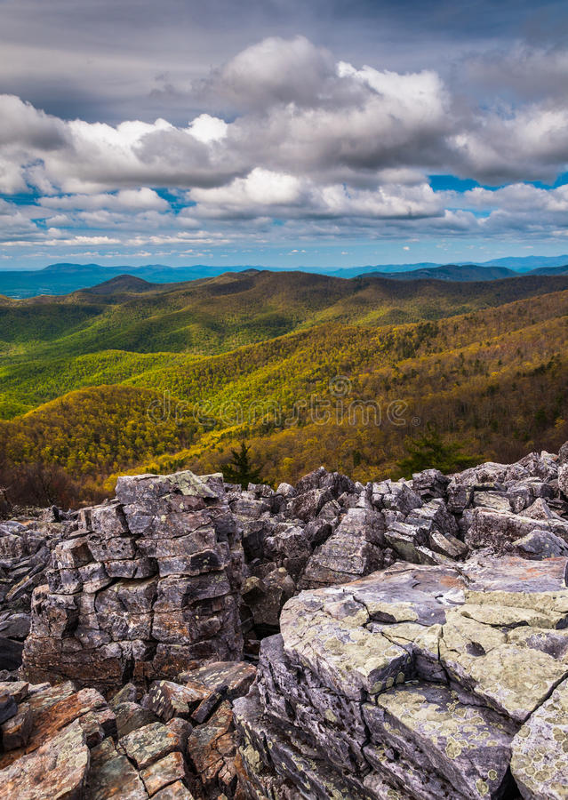View from the boulder-covered summit of Blackrock in Shenandoah National Park stock photography