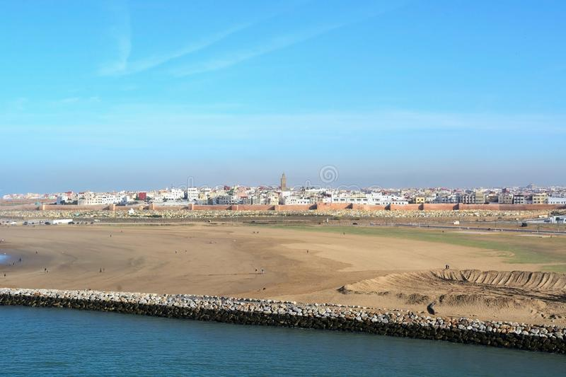 View of the Bouregreg River and Sale city from the Kasbah of the Udayas in Rabat, Morocco, Afr royalty free stock photo