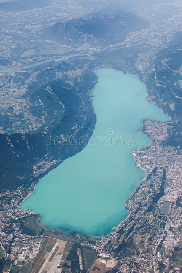 View of Bourget lake in Aix les Bains, France. View of Bourget lake in Aix les Bains from the sky, France royalty free stock photography