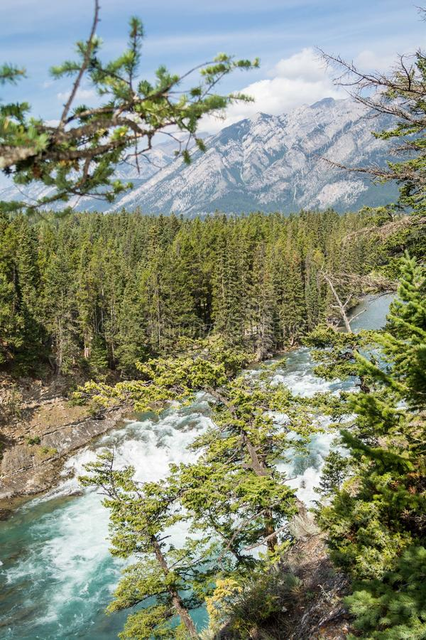 View of Bow Fall and Bow River. Zoom view of Bow Fall Bow River, Banff National Park, Alberta, Canada royalty free stock photos