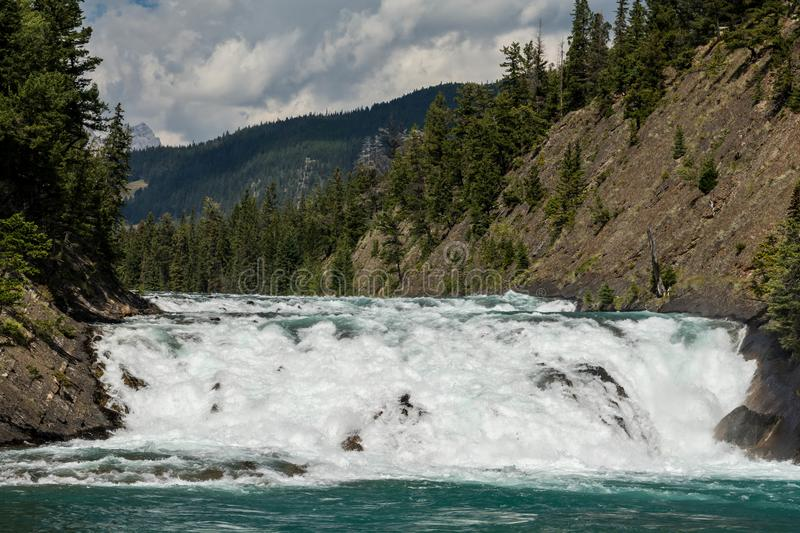 View of Bow Fall and Bow River. Zoom view of Bow Fall Bow River, Banff National Park, Alberta, Canada royalty free stock image