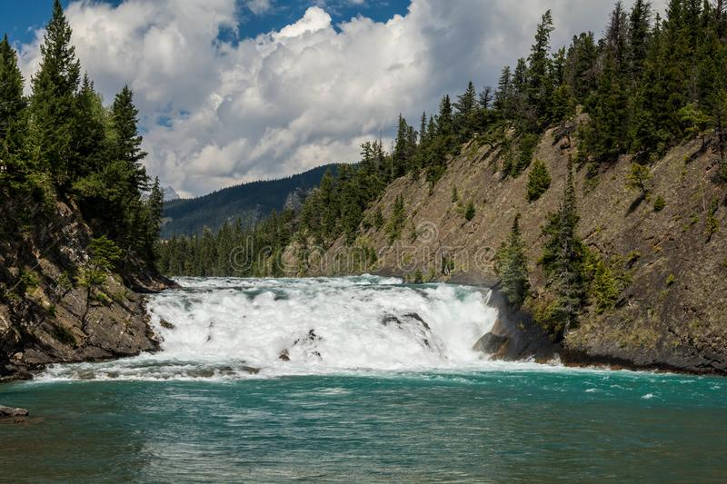 View of Bow Fall and Bow River. Zoom view of Bow Fall Bow River, Banff National Park, Alberta, Canada royalty free stock photo