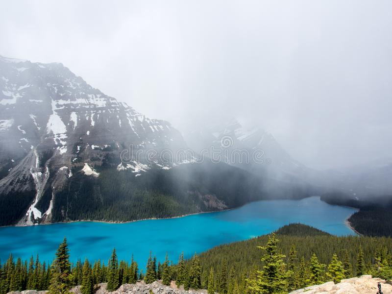 View from Bow Summit of Peyto lake with clouds in Banff National Park royalty free stock photos