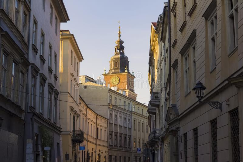 View on Bracka street and city hall in background, Krakow, Poland stock image