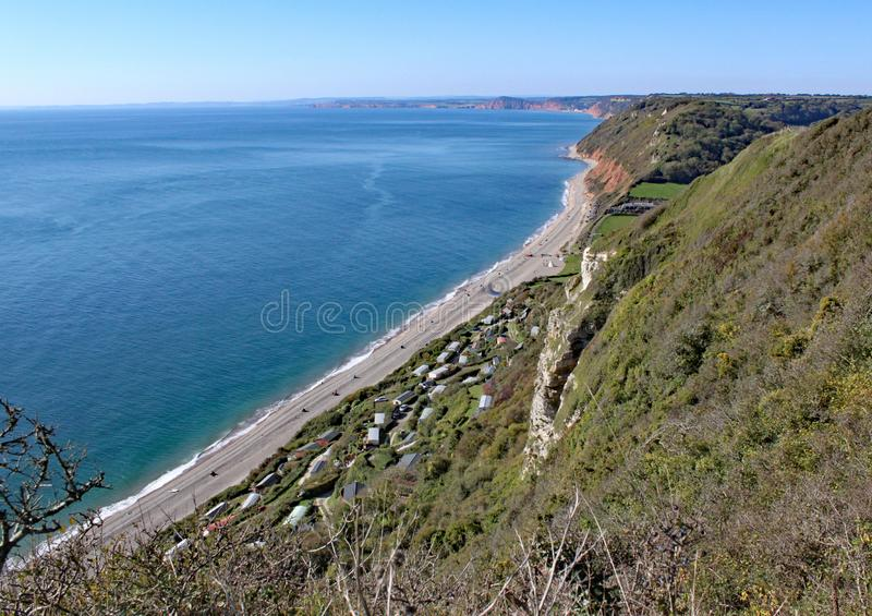 View of Branscombe beach on the cliff walk from Beer in Devon, England royalty free stock photography
