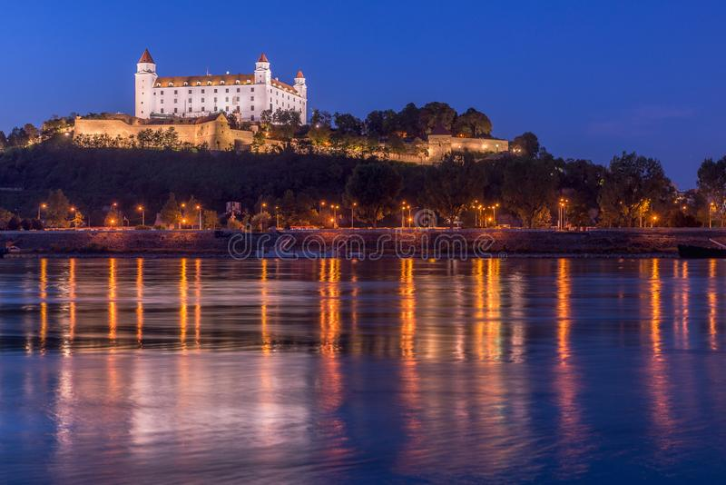 View of bratislava Castle in the evening. Capital of Slovakia royalty free stock photos