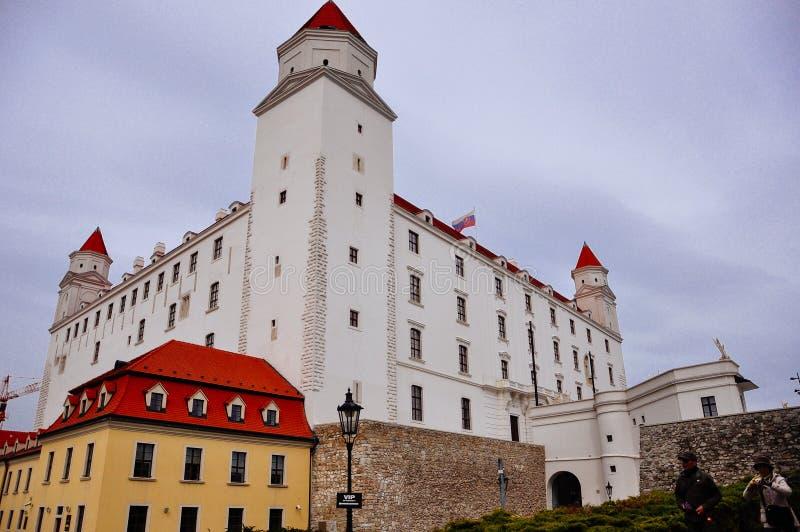 A view of Bratislava Castle, Bratislava, Slovakia. Bratislava Castle, the landmark overlooking the capital, was built in 9th century. It stands on the hill stock photo