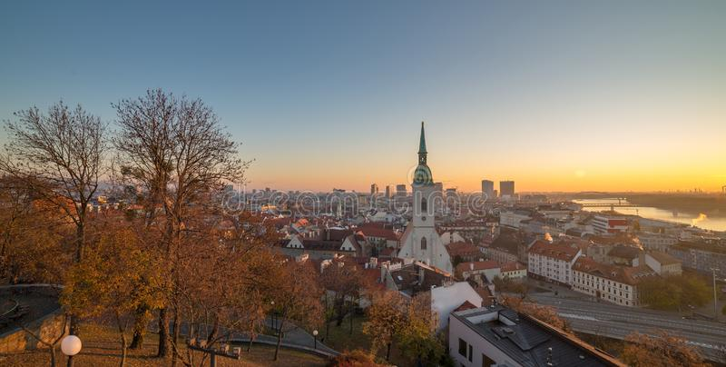 View of Bratislava St. Martin`s cathedral from castle in the morning stock photography