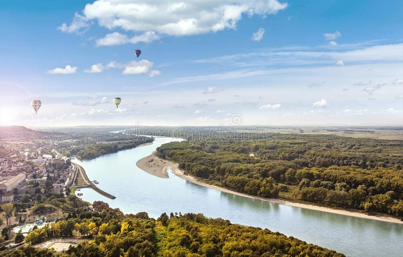 View from the Braunsberg Hainburg an der Donau along the Danube stock images