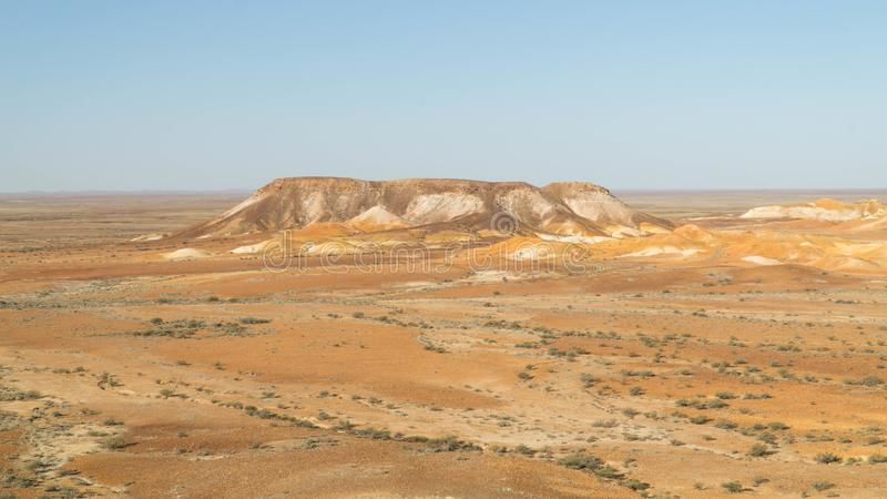 View of breathtaking mesas in Kanku-Breakaways Conservation Park near Coober Pedy, Australia. View of breathtaking mesas in Kanku-Breakaways Conservation Park royalty free stock images