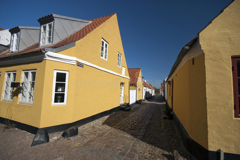 View of Bredeslippe street in Ribe, Denmark stock photos
