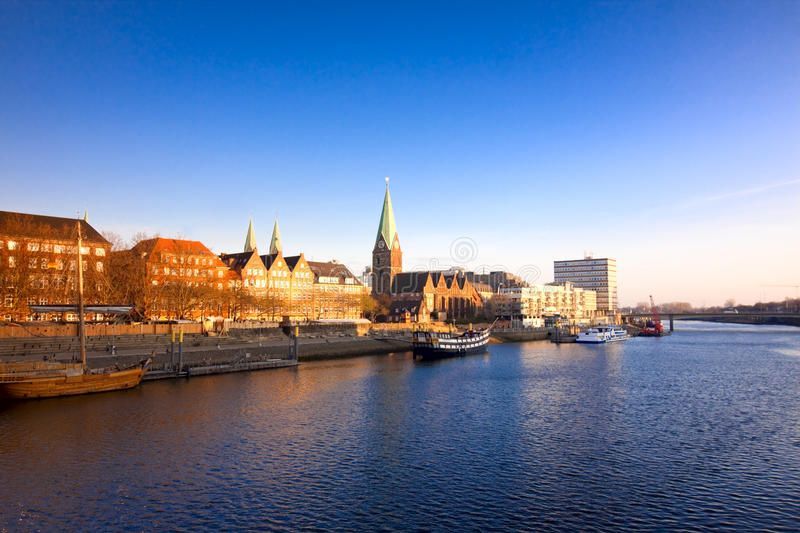 View on Bremen. View on the river in Bremen, Germany from the bridge stock photos