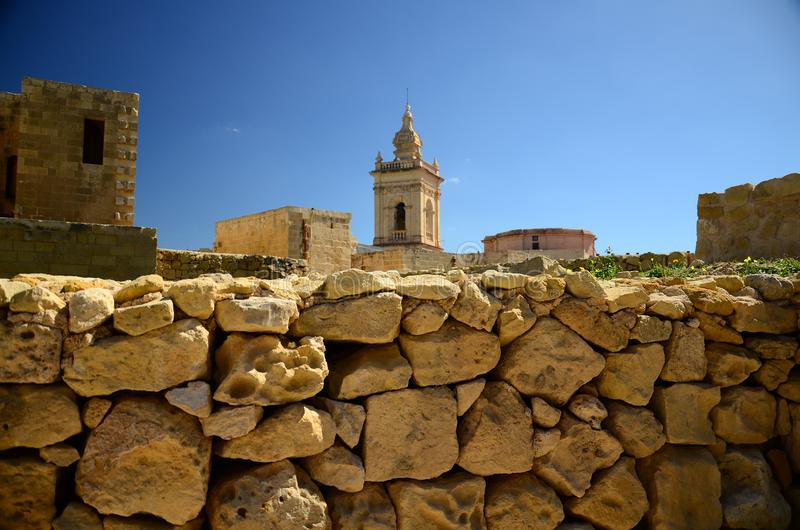 Cittadella tower castle in Victoria Rabat town, Gozo island, Malta royalty free stock photos