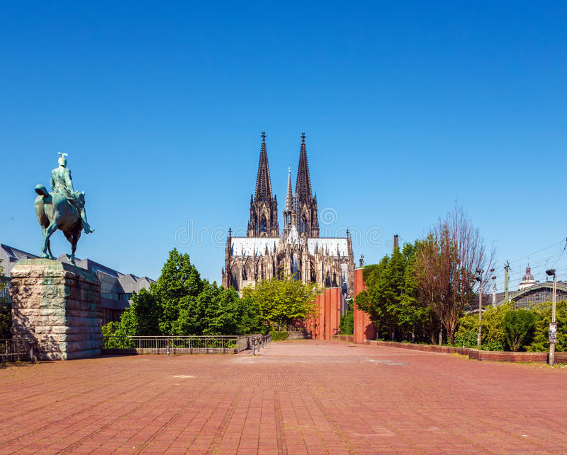 View from Bridge on Cologne Cathedral royalty free stock photography
